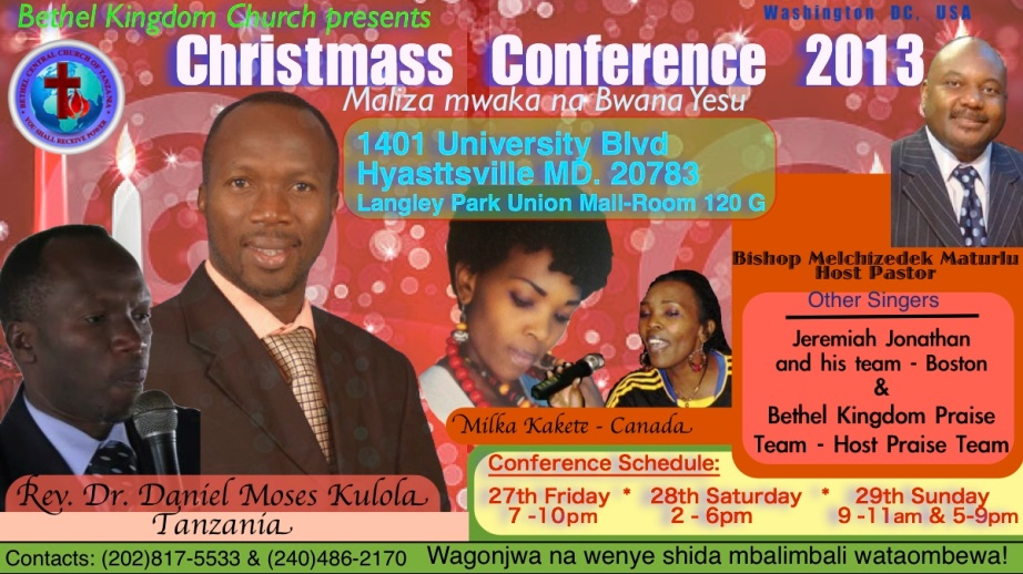 Rev.Dr. Daniel Moses Kolola's December 2013 Conference - Washington DC